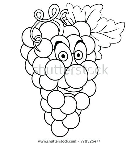 450x470 Grapes Coloring Page Coloring Page Cartoon Grapes Happy Fruit