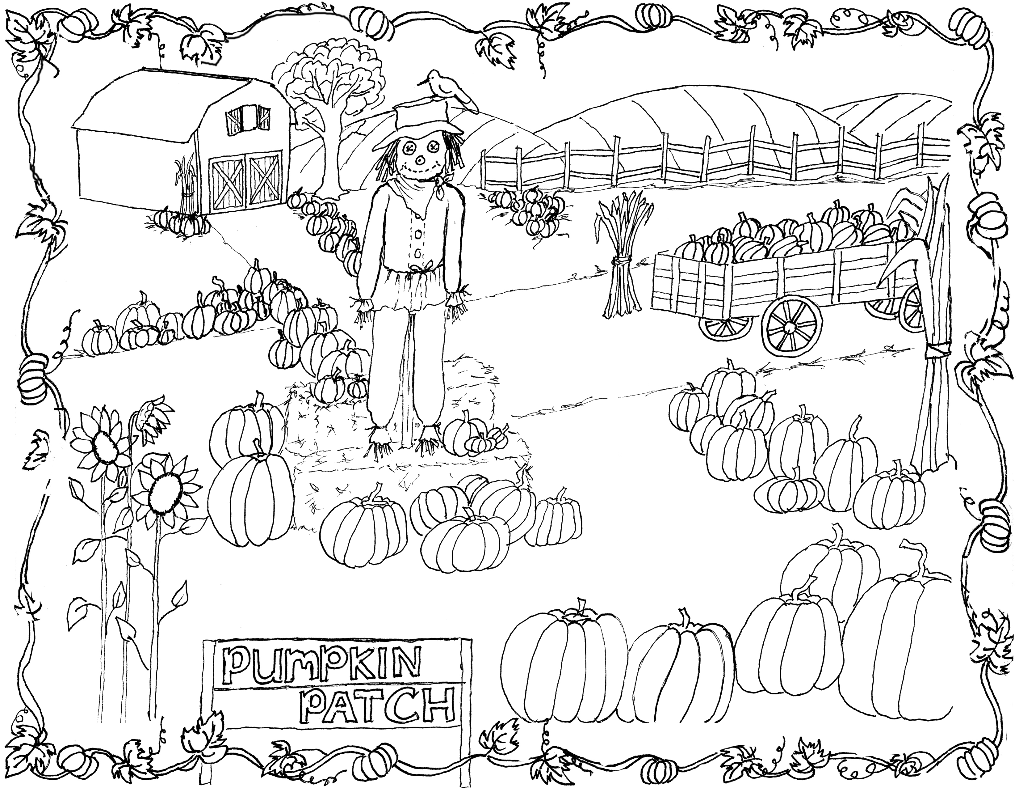 3300x2550 Pumpkin Patch Coloring Page Printable!
