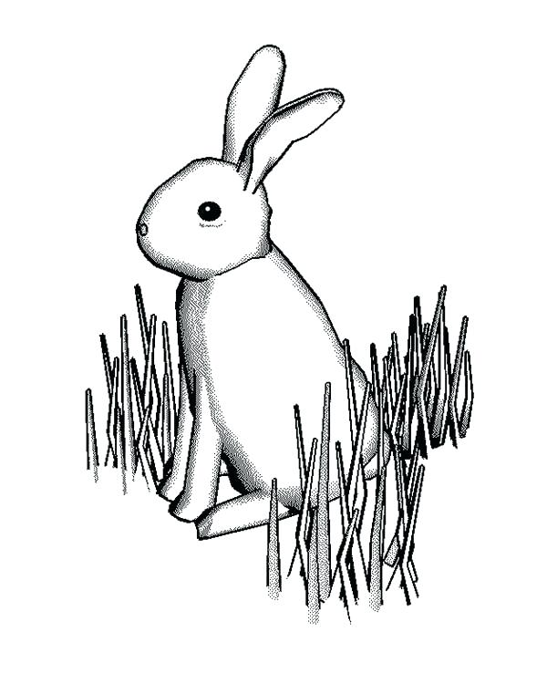600x761 Grass Coloring Pages Bunny Rabbit Standing On Grass Coloring Pages