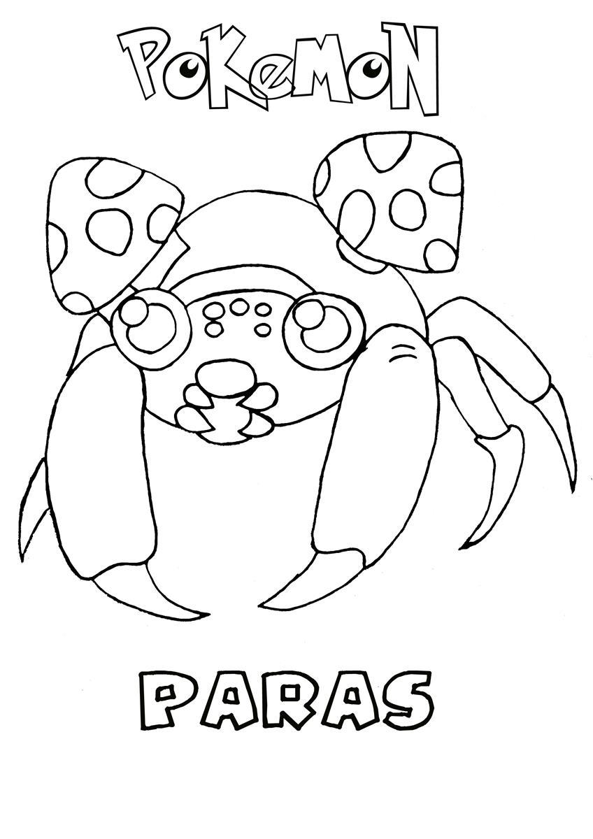 848x1200 Paras Pokemon Coloring Page