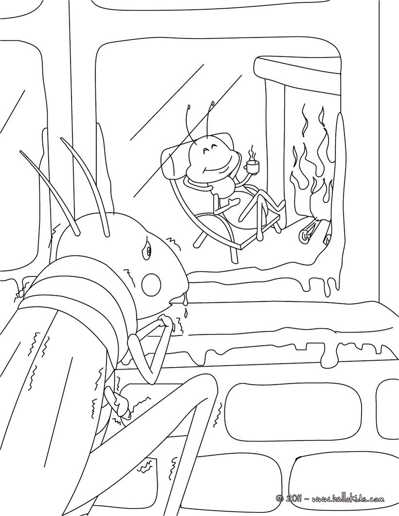 820x1060 Grasshopper Coloring Page The And Ant Pages Hellokids Com