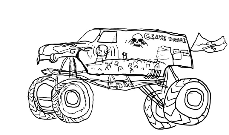 767x452 Grave Digger Coloring Pages Drawn Truck Grave Digger Monster Truck