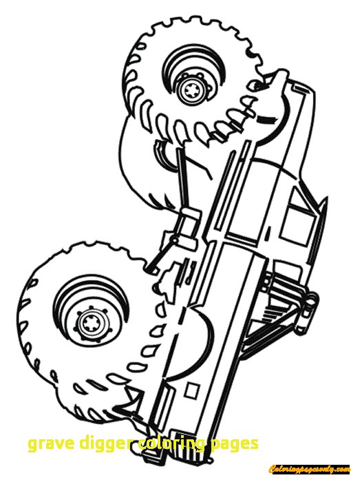 510x700 Grave Digger Coloring Pages With Simple Grave Digger Monster Truck
