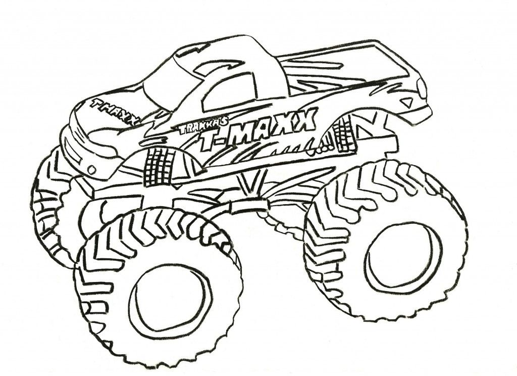 1024x744 Grave Digger Coloring Page Printable Within Color Pages
