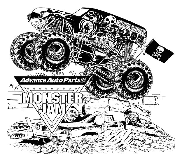 600x527 Monster Jam Grave Digger Coloring Pages Color Luna Stunning