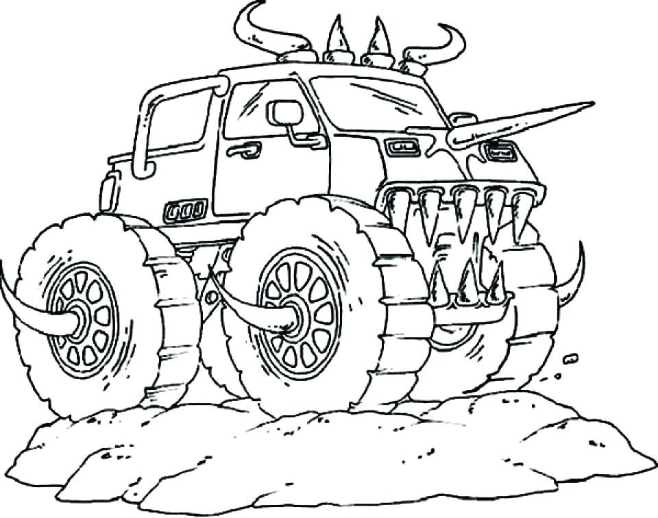 960x756 Monster Trucks Coloring Pages With Grave Digger Coloring Page