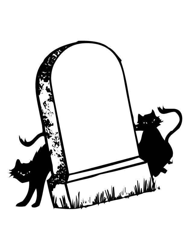 630x810 Tombstone And Cats Coloring Page