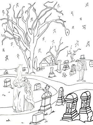 Graveyard Coloring Pages