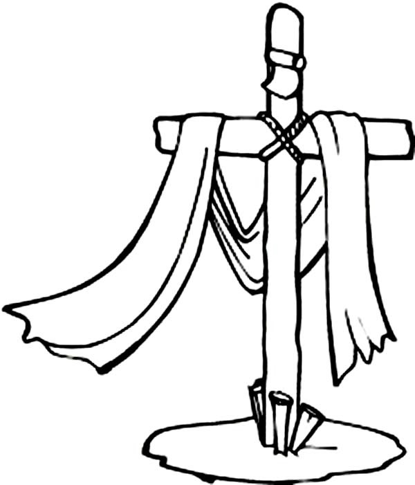 600x701 Good Friday Coloring Pages Cross On Graveyard Batch Coloring