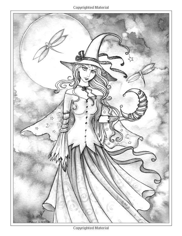 600x776 Autumn Magic Grayscale Coloring Book Autumn Fairies, Witches