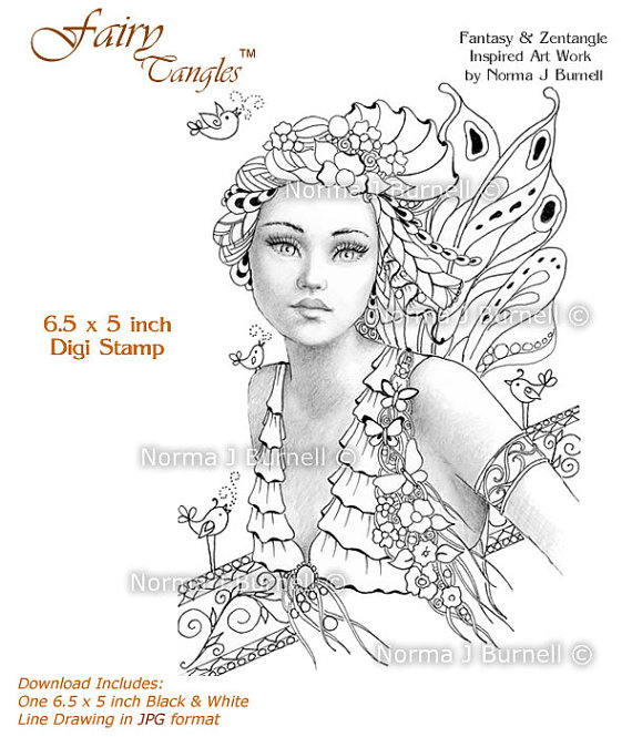 570x665 Song Of Spring Fairy Tangles Grayscale Printable Digi Stamp