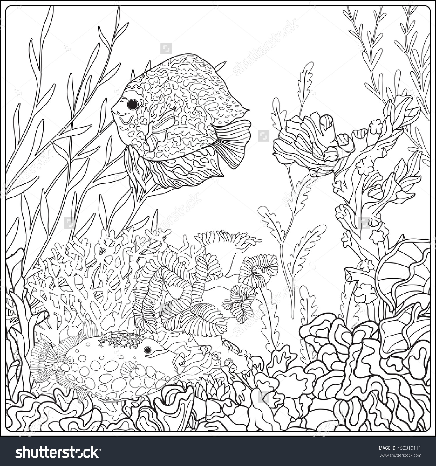1500x1600 Adult Coloring Book Coloring Page With Underwater World Coral