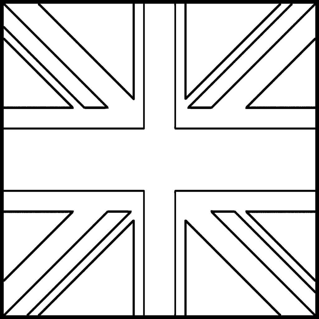 1024x1024 Unconditional Great Britain Flag Coloring Page