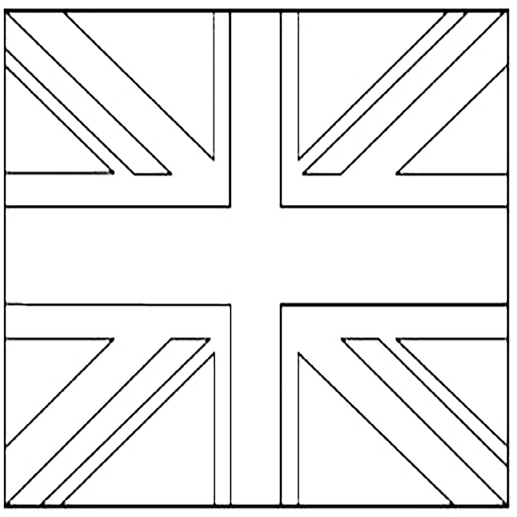1024x1024 United Kingdom Union Jack Flags Coloring Pages For Kids To Print