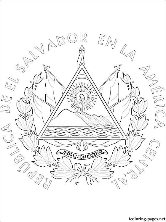 560x750 El Salvador Coat Of Arms Coloring Page Coloring Pages