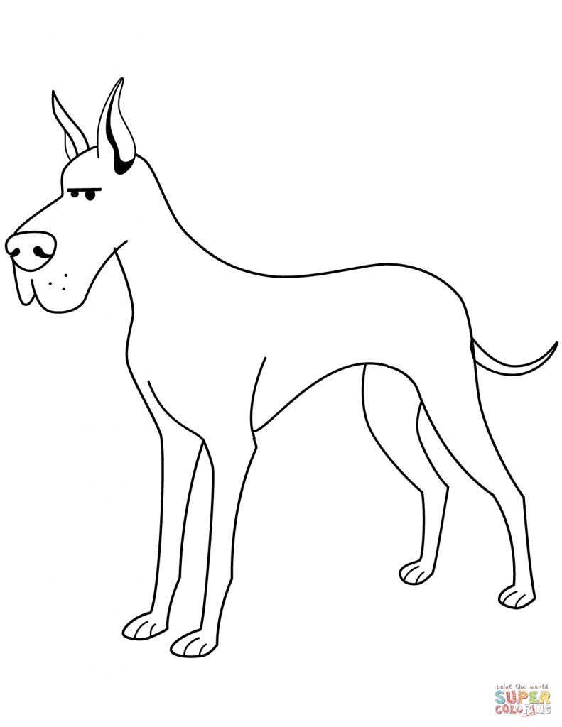 791x1024 Great Dane Coloring Pages