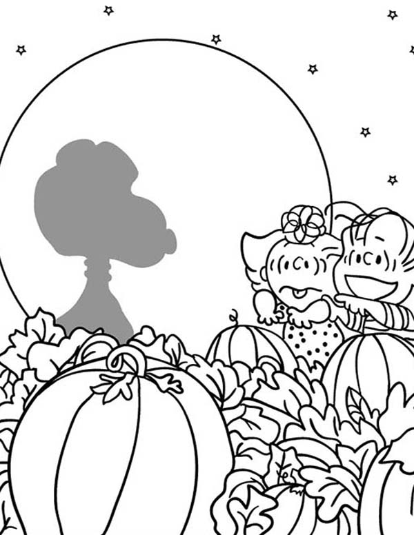 600x776 Sally And Linus Grow Giant Pumpkin In Charlie Brown Coloring Page