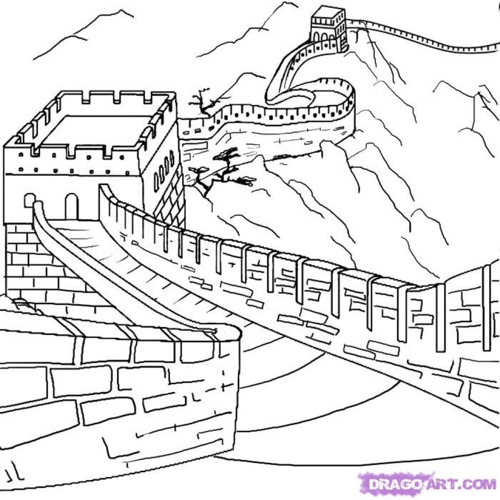 1024x1024 Great Wall Of China Coloring Page Az Pages Amazing Designs