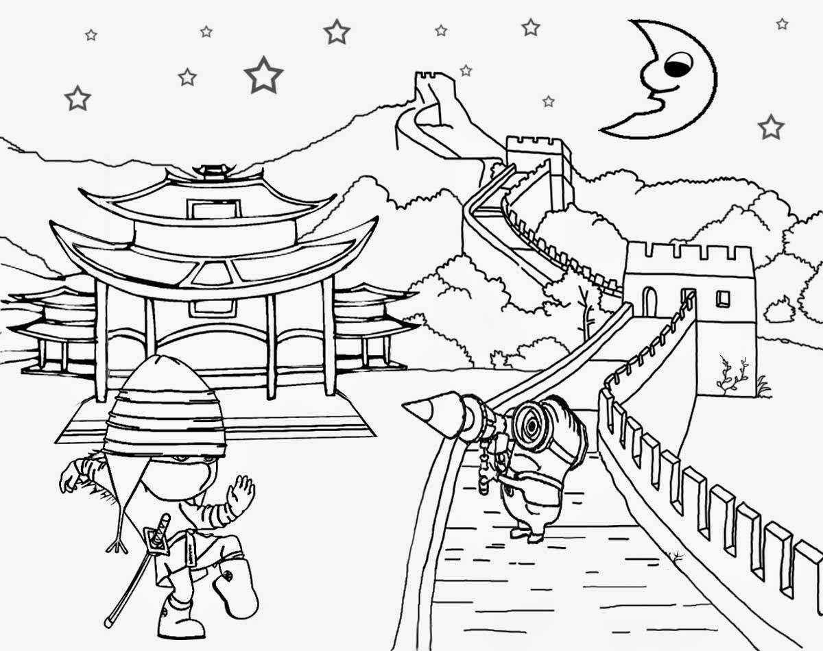 1200x950 New Great Wall Of China Coloring Page Clipart