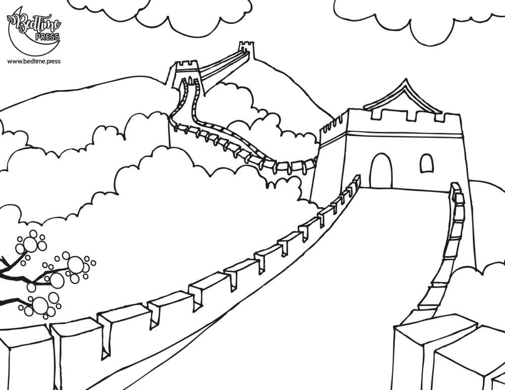 1000x773 Profitable Great Wall Of China Coloring Page Sporturka Great