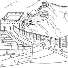 236x236 The Great Wall Of China Coloring Page For Kids Asia