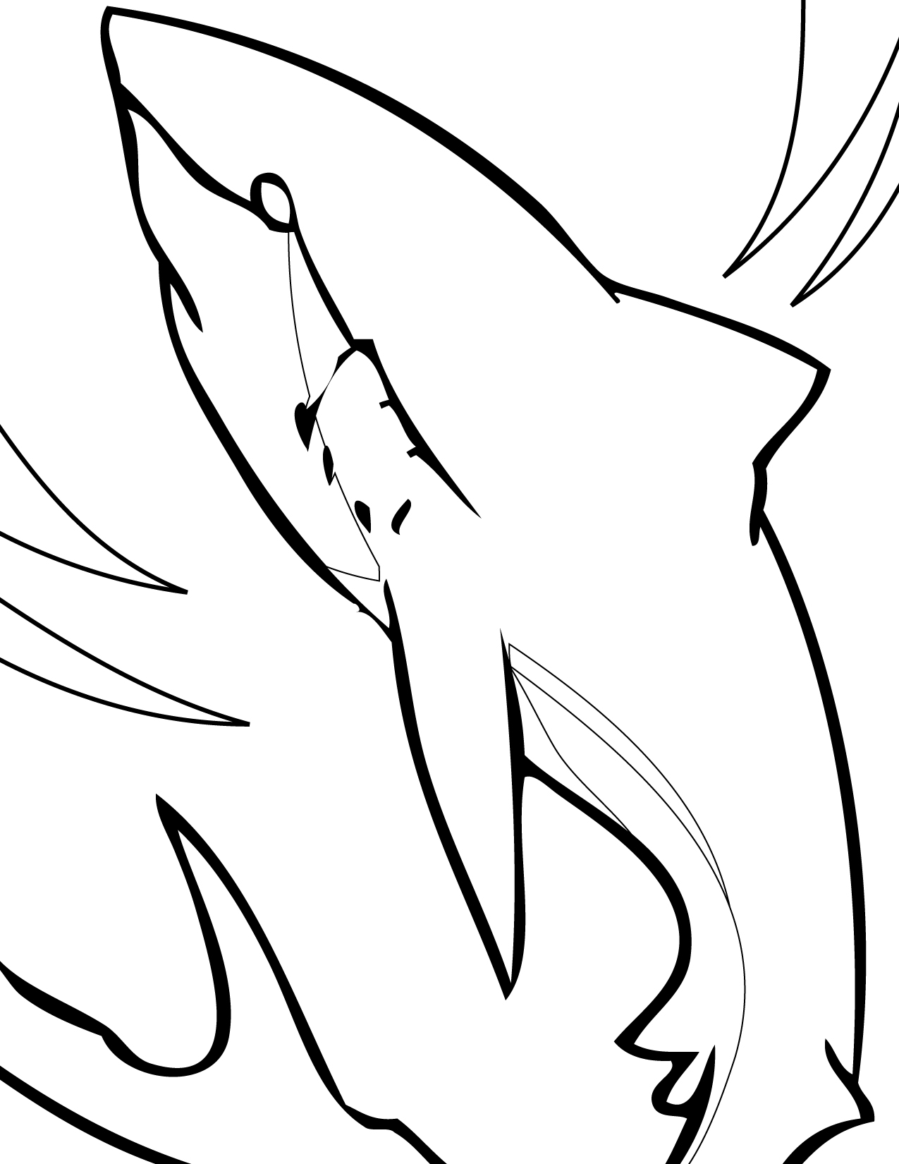 1275x1650 Great White Shark Coloring Page
