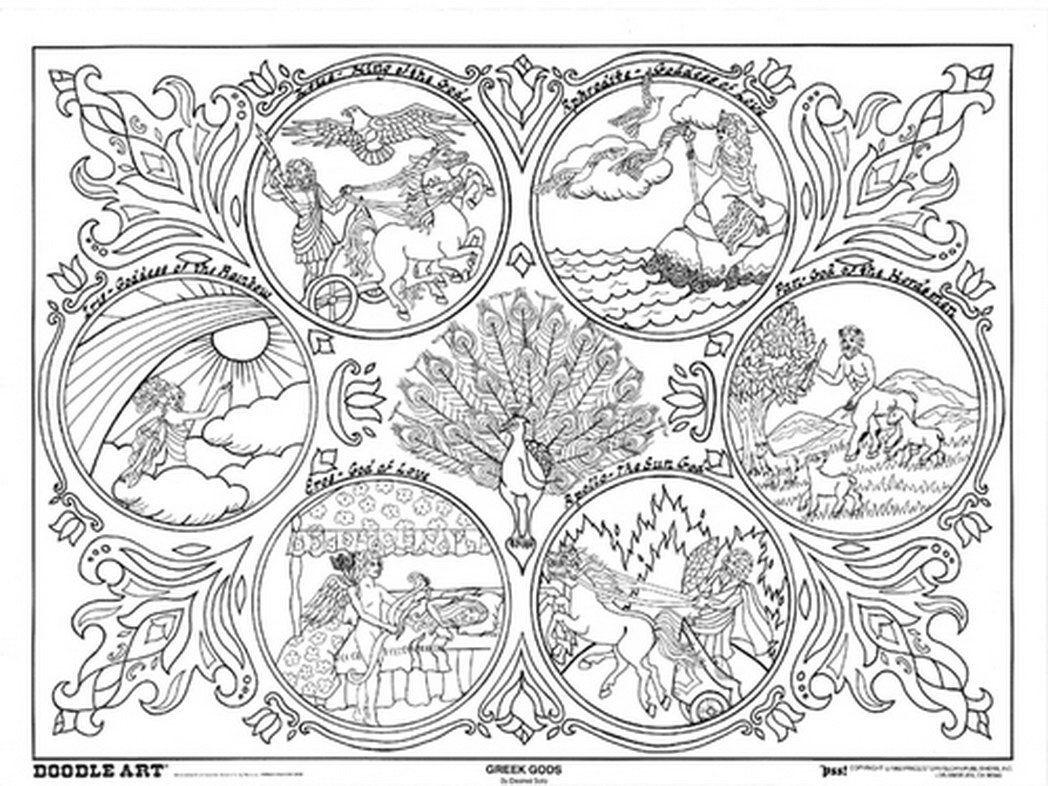 1048x786 Greek Mythology Coloring Pages Lively Mythical Mosm