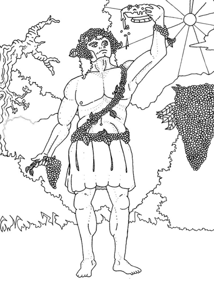749x1060 Awesome Greek Gods Coloring Pages God Dionysus Kleurplaat