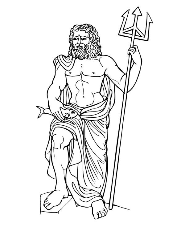 600x776 Myths God Poseidon From Greek Gods And Goddesses Coloring Page