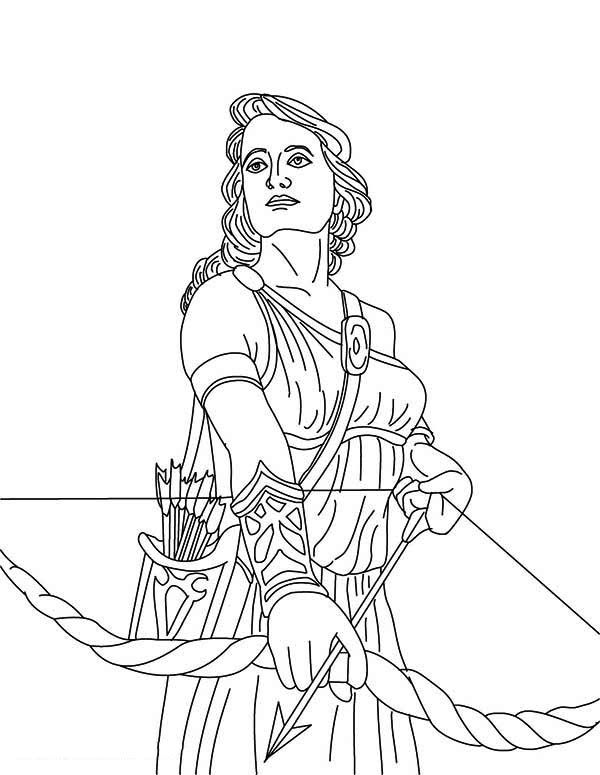 600x775 Coloring + Goddess Print The Goddess Artemis And Her Bow