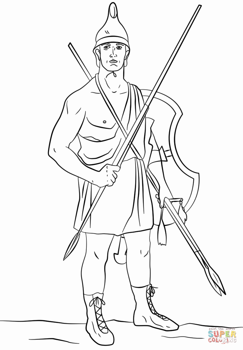 Greek Warrior Coloring Pages