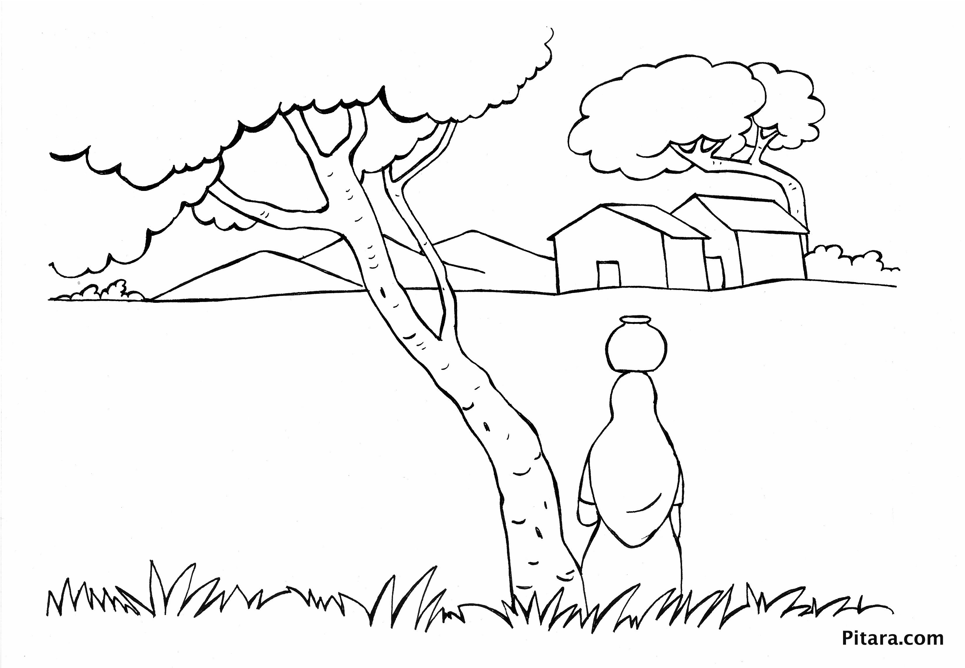 3308x2292 Indian Village People Coloring Pages Pitara Kids Network