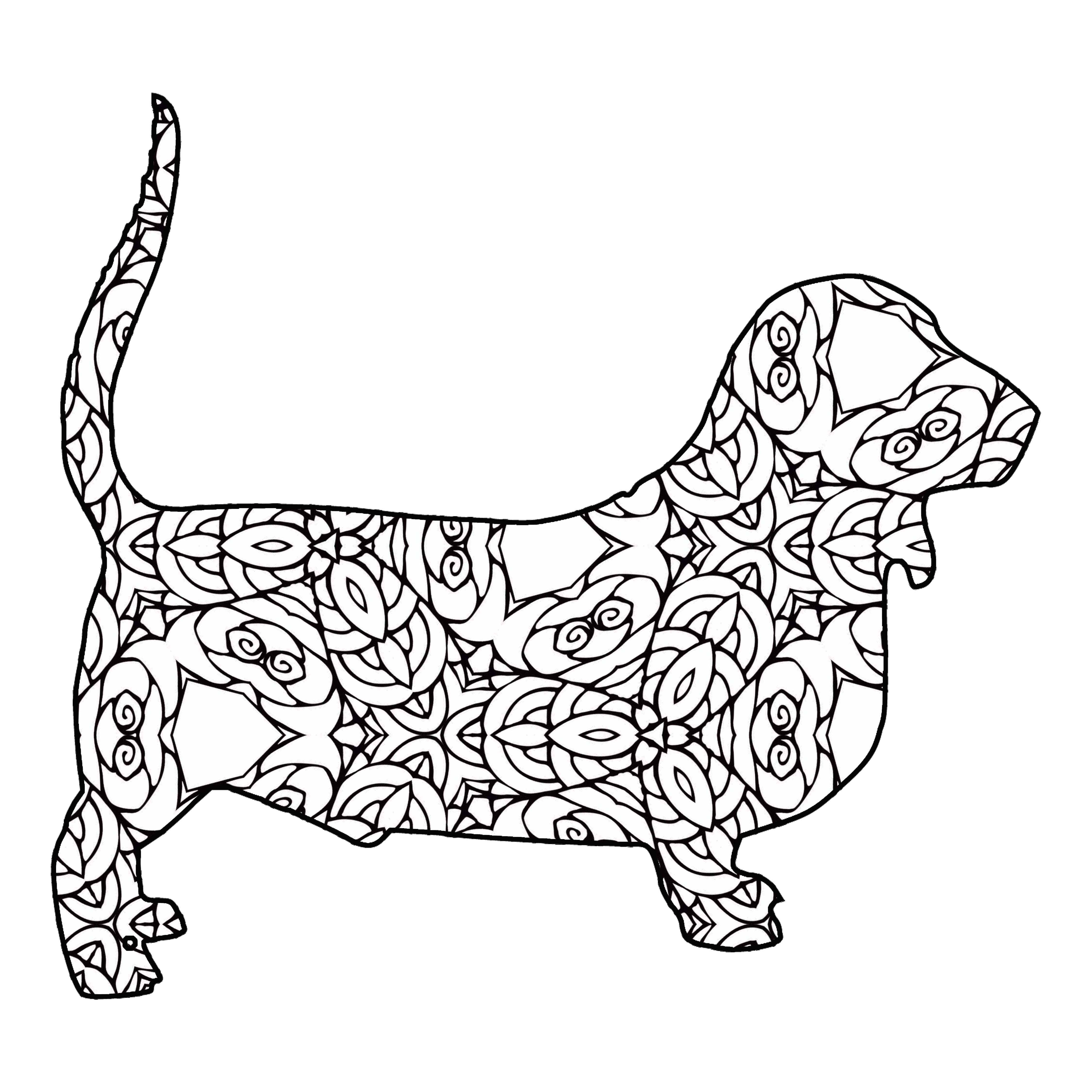 4500x4500 Italian Greyhound Coloring Page Hound Dog
