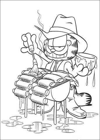 343x480 It's A Grill Time Coloring Page Garfield Grill