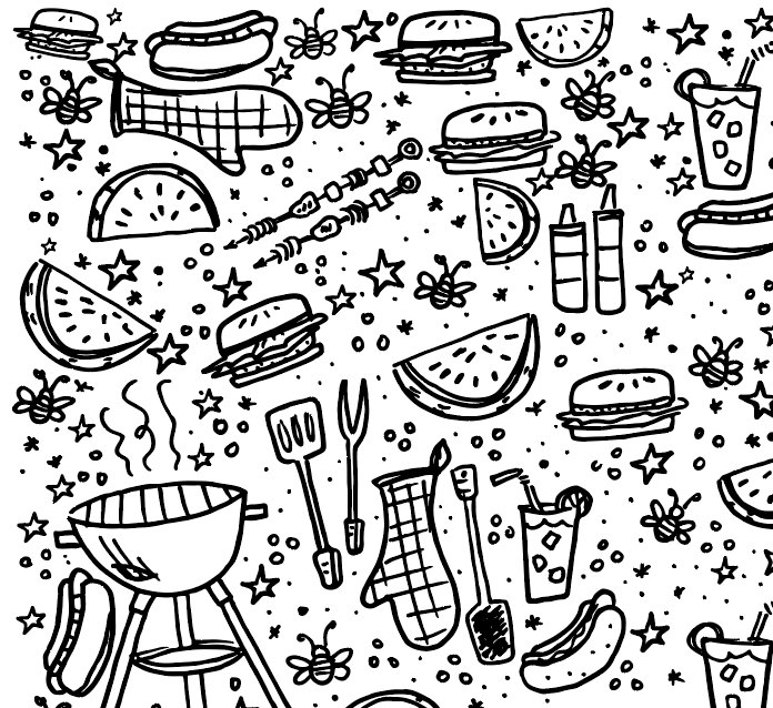 696x638 Printable Backyard Bbq Coloring Page For Kids Instant