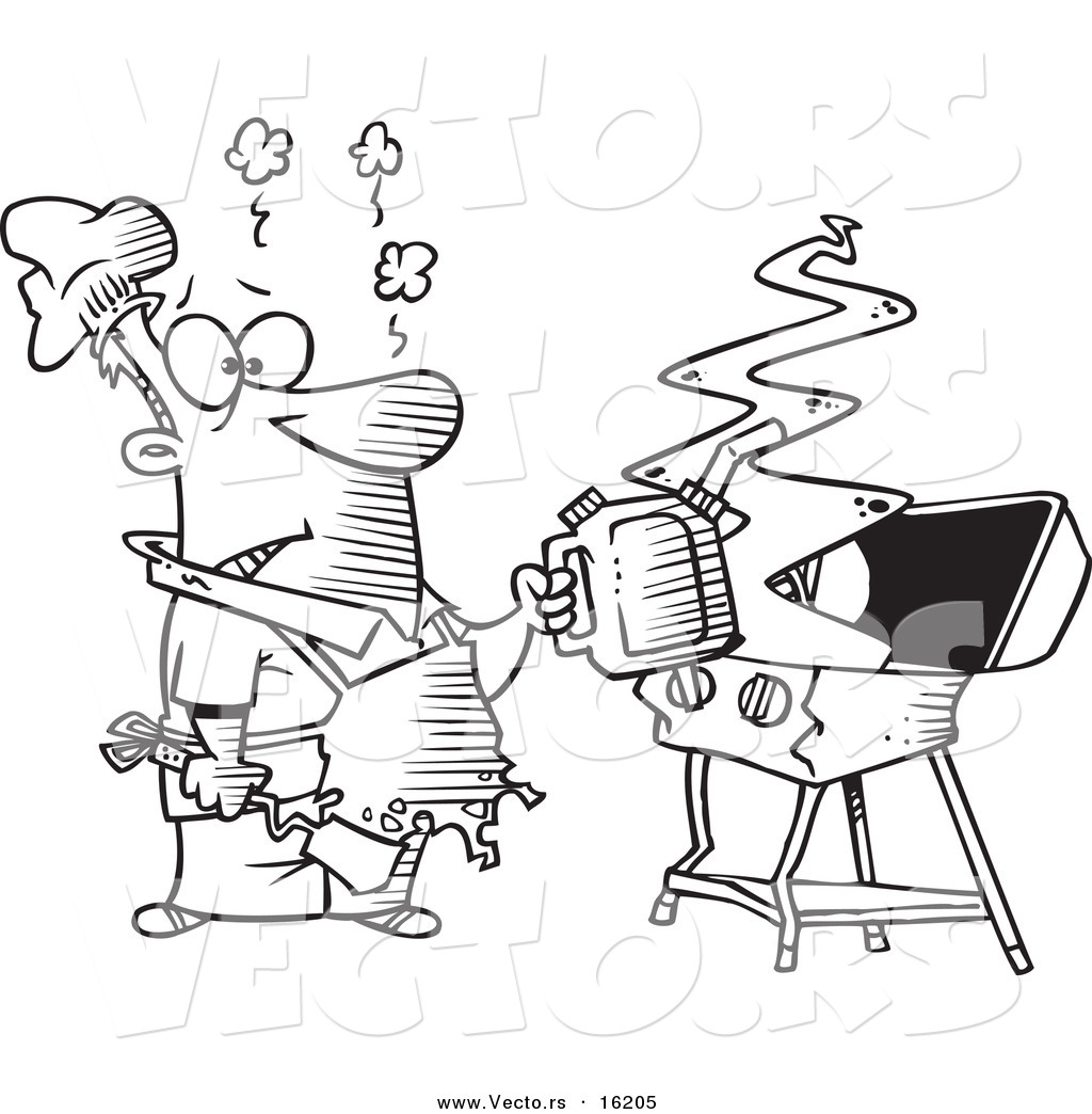 1024x1044 Vector Of A Cartoon Man Using A Gas Can To Ignite His Bbq