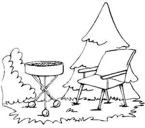 300x264 Bar B Q Grill And Lawn Chair Coloring Book Page Free Bar B Q