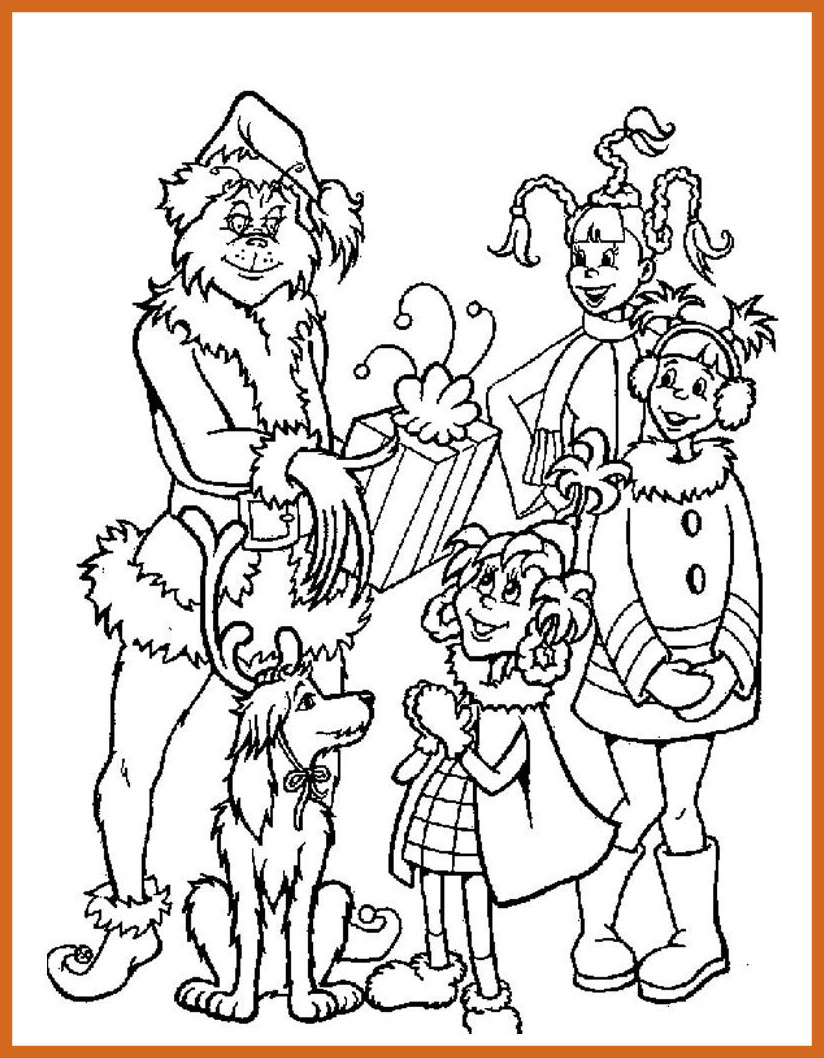 Grinch Face Coloring Pages