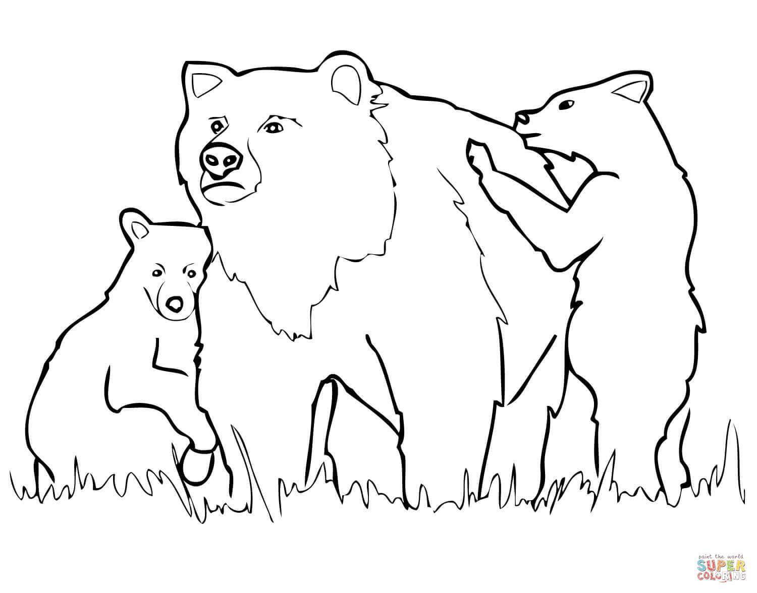 1500x1176 Marvelous Grizzly Bear Mother And Cubs Coloring Page Printable