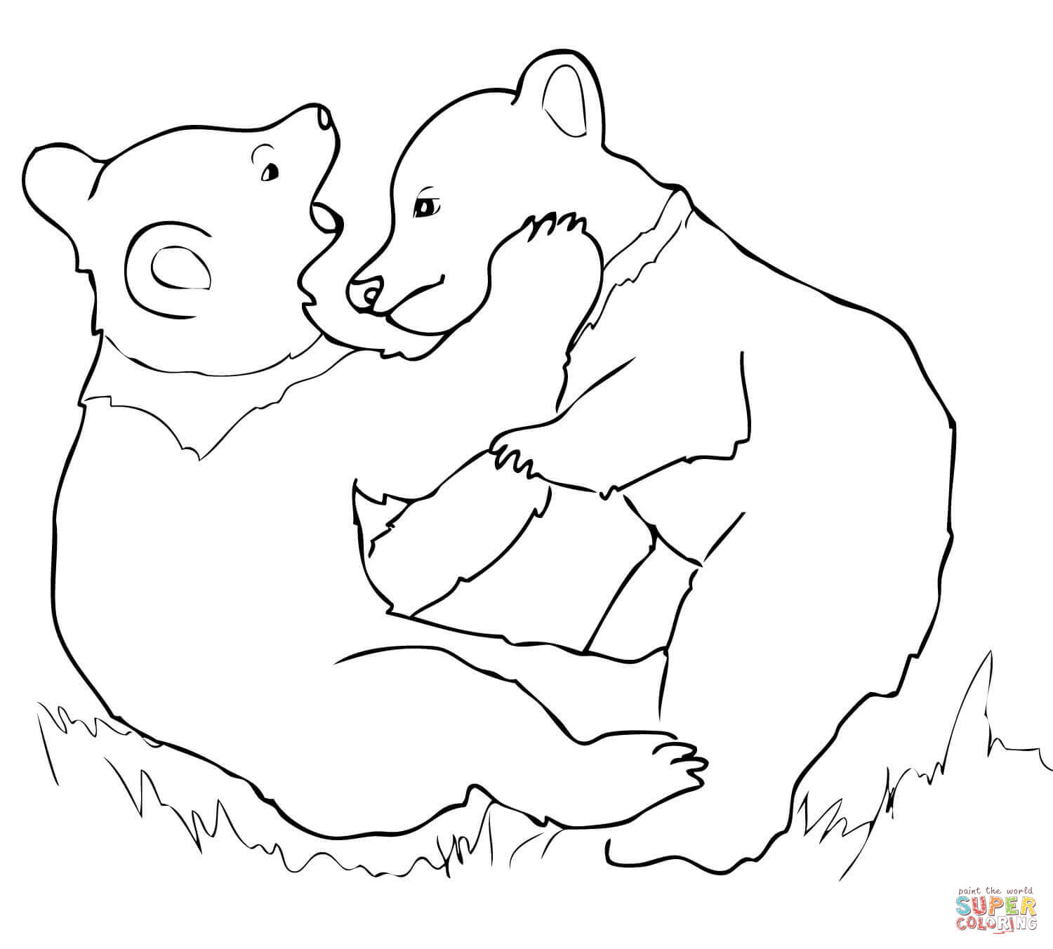 1500x1352 Grizzly Bear Cubs Playing Coloring Page Piro