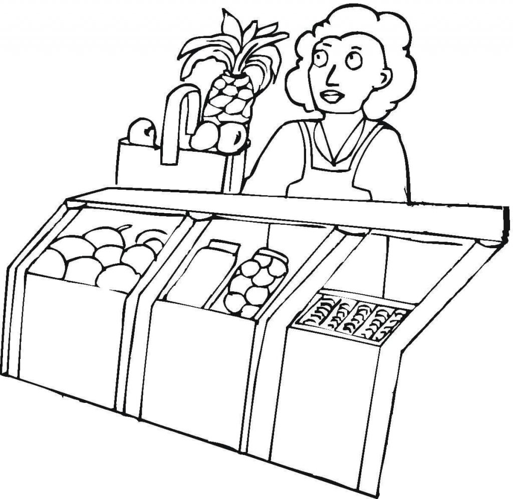 1024x997 Seller In The Grocery Shop Food Coloring Page