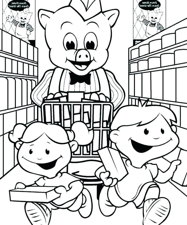 600x724 Shopping Coloring Pages Grandma Coloring Pages Shopping