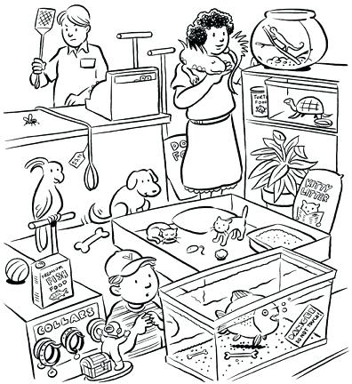 396x432 Store Coloring Page Pet Store Coloring Pages Con Google Grocery
