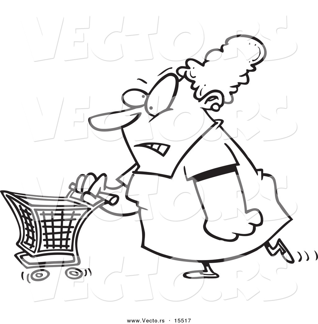 1024x1044 Vector Of A Cartoon Grumpy Woman Grocery Shopping