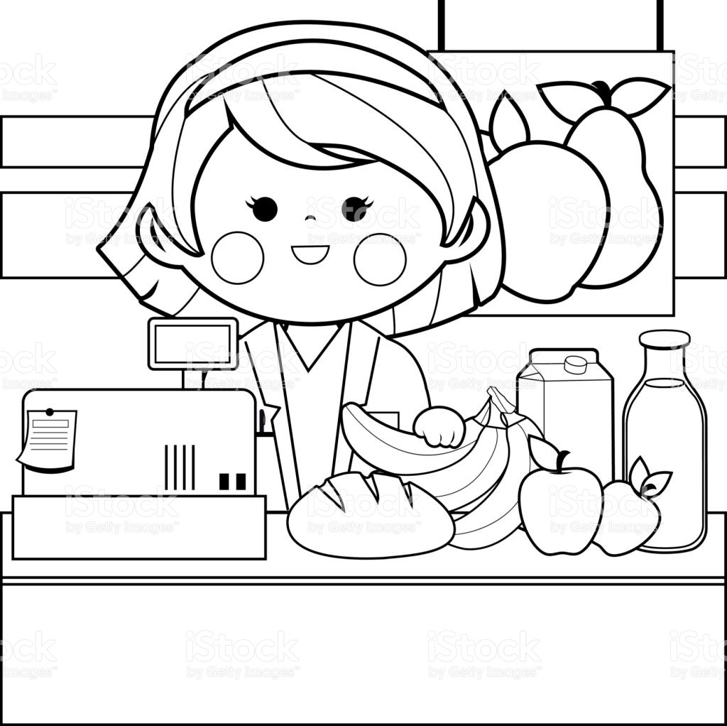 1024x1022 Grocery Store Employee Site Image Coloring Book Store