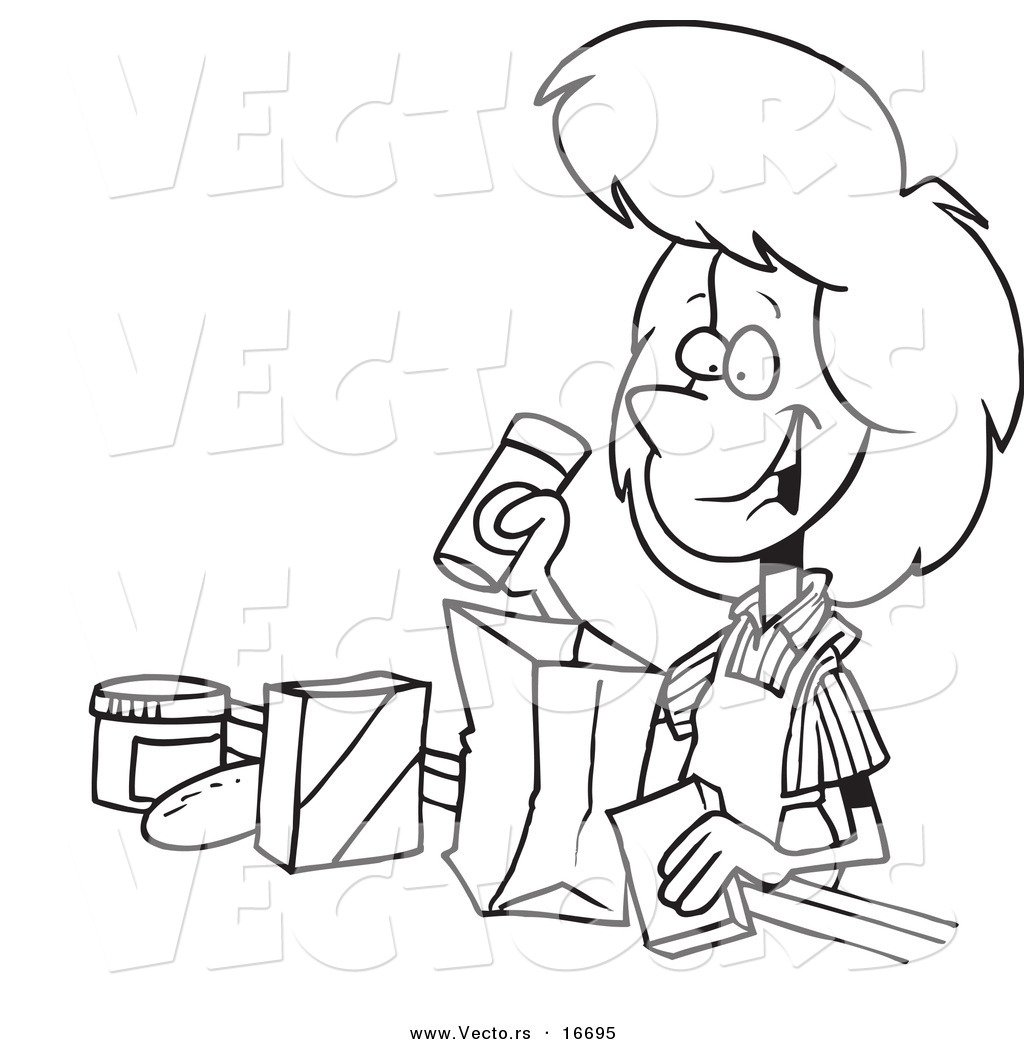 1024x1044 Vector Of A Cartoon Friendly Cashier Bagging Groceries