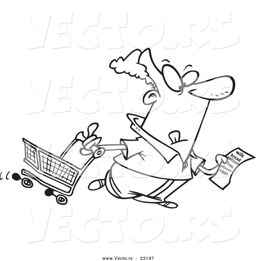 1024x1044 Vector Of A Cartoon Guy With A Shopping List