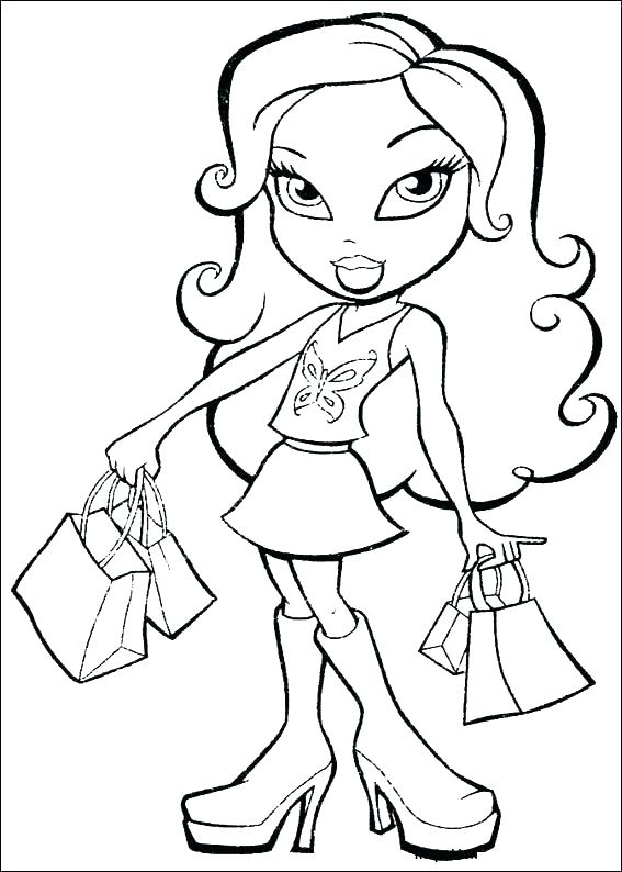 567x794 Shopping Coloring Pages