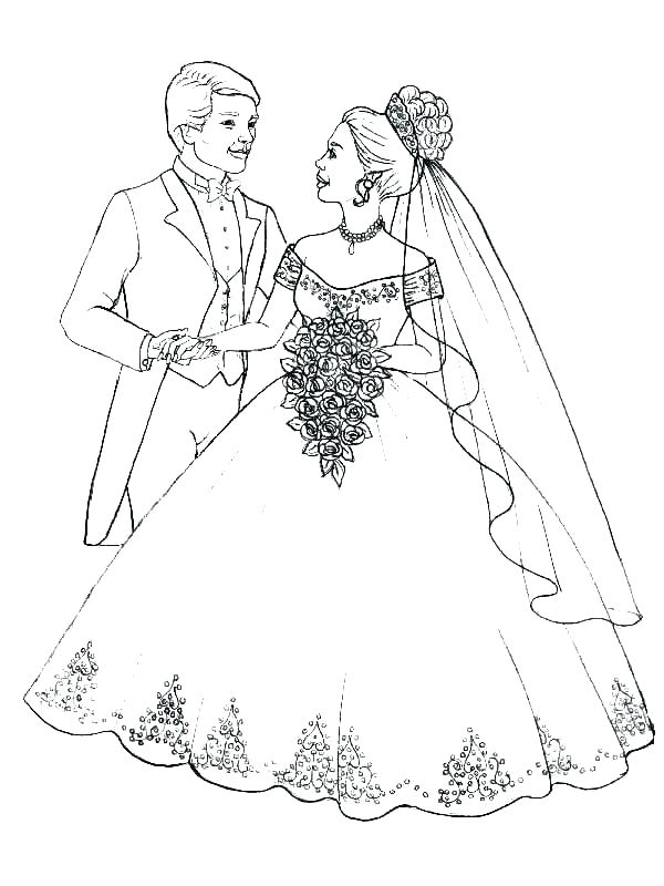 600x800 Free Printable Bride And Groom Coloring Pages Page Pictures