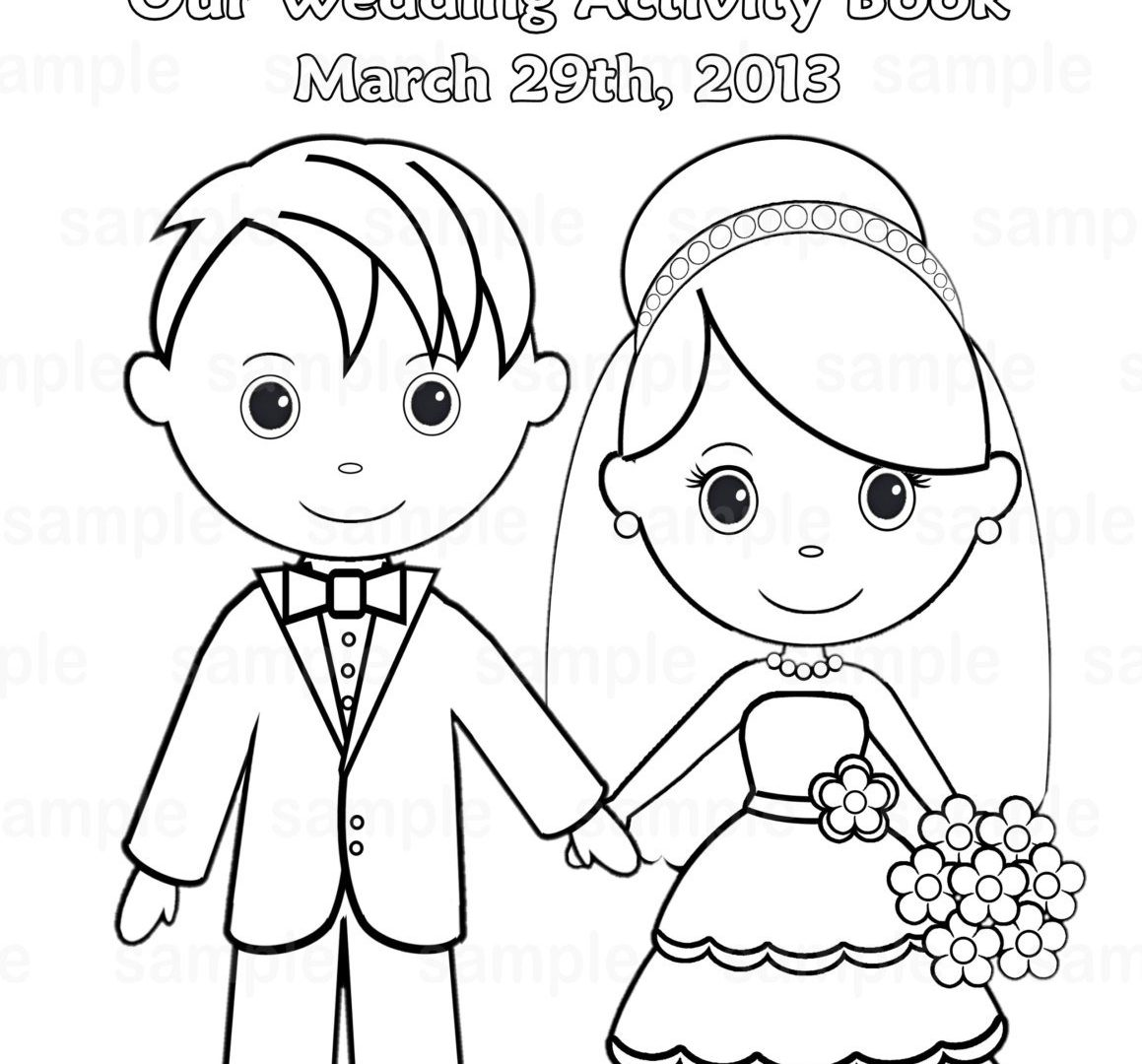 1159x1080 Kids Bride And Groom Coloring Pages Free Great Wedding Easy